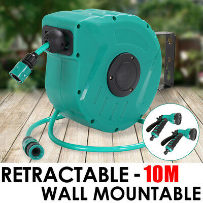 10M Retractable Garden Hose Reel Wall Mount Water Rewind Gun with 2 Spray Guns