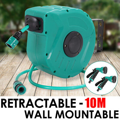 10M Retractable Water Hose Reel Auto Rewind Wall Mount Garden Tool + 2 Spray Gun