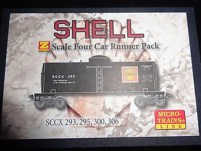 Z scale, Shell oil company - 4 car runner pack, single dome tank car