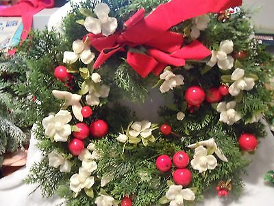 Vintage Plastic Christmas Wreath with Apples White Roses & Doves
