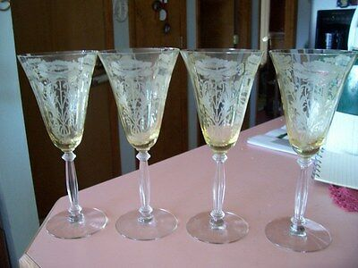 "Tiffin Flanders yellow 8 1/4"" water stems (4) clear stem"