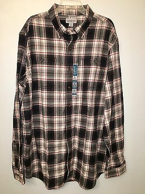 Nwt Carhartt Shirt Black Red Plaid Flannel Button Front