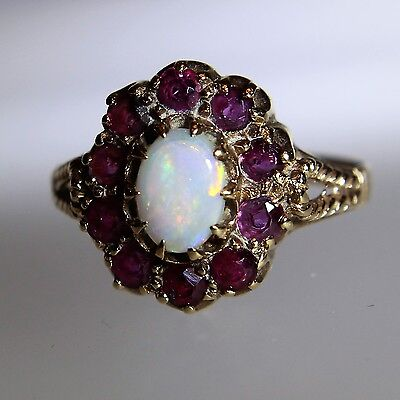 Antique Large Opal Ruby 9ct Yellow Gold Cluster Ring size Q ~ 8 1/4