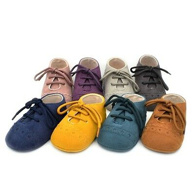 Infant Baby PU Leather Soft Sole Suede Shoes Boys Girls Toddler Moccasin 0-18M