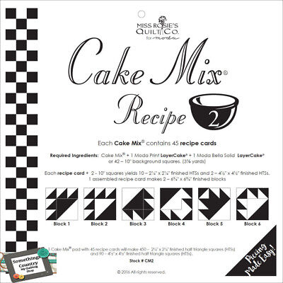 Quilting Sewing Quilt Pattern MODA CAKE MIX 2, Preprinted Cheats for Patchwor...
