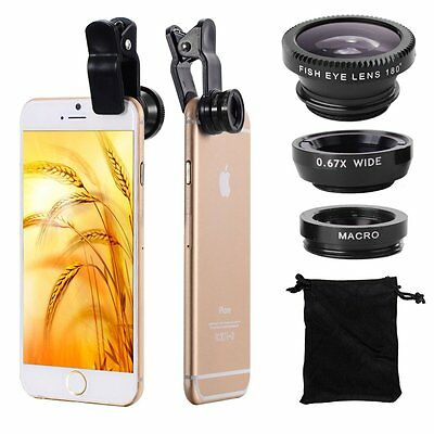 3in1 Fish Eye + Wide Angle Micro Lens Camera Kit for Universal Cell Phone Black