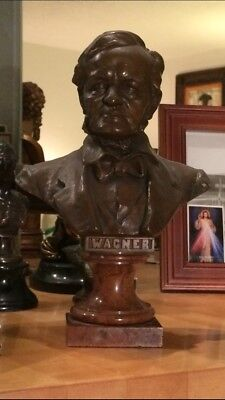 "RICHARD WAGNER Bronze Bust by HANS MULLER - 11.5"" Germany Composer Marble Statue"