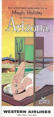 Western Airlines Magic Holiday in Arizona Brochure - Oct. 1960 to Jan. 1962