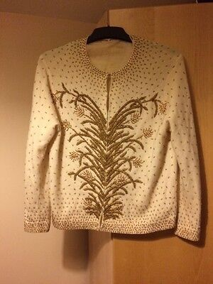 Vintage 80's wool blend hand beaded cream cardigan size 12