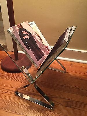 1970's Vintage Modern Milo Baughman Chrome And Glass Magazine Rack / Stand