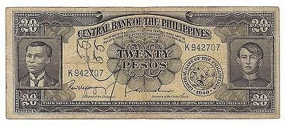 Central Bank Of The Philippines Twenty 20 Pesos Paper Money Note Bill