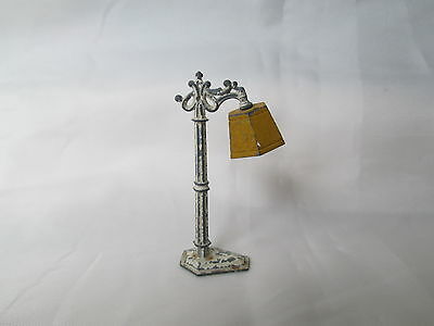 Vintage 1930s TootsieToy  Metal Floor Lamp Yellow Shade Dollhouse Miniature