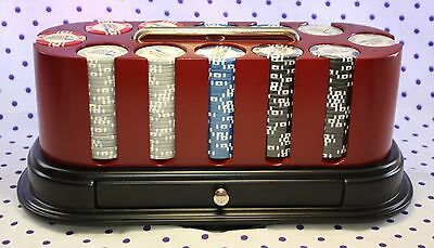 Official World Poker Tour Oval Cherry Spinning Carousel 300 Chip Rack Set Cards