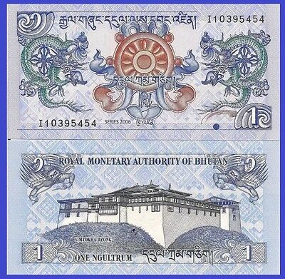BHUTAN 🇧🇹 1 Ngultrum Banknote, 2006, P-27, UNC World Currency