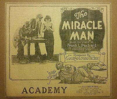 1919 The Miracle Man Movie Ad The Frog Lost Film George Loane Tucker Unique Find