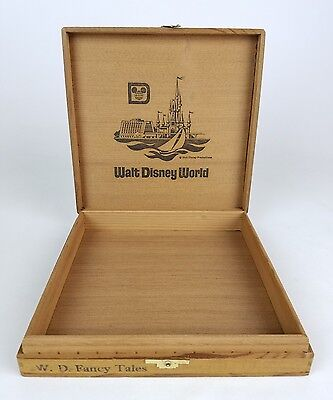 VINTAGE Walt Disney World Magic Kingdom RARE Wooden Cigar Box 8x8x2