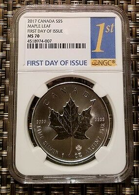 2017 Canada $5 1 oz. Silver Maple Leaf NGC MS70 First Day Issue -- RARE--