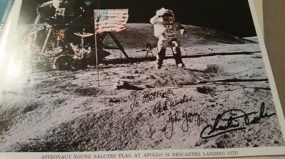 John Young and Charlie Duke signed Apollo 16 lithograph on the moon! astronaut