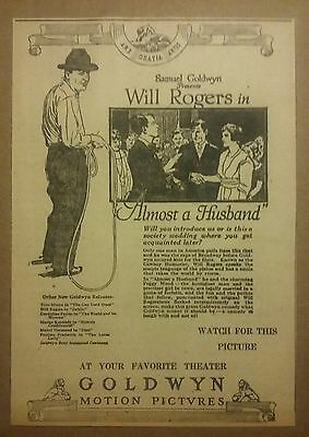 1919 Will Rogers in Almost A Husband Movie Ad Rare Piece Samuel Goldwyn
