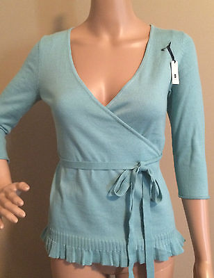 New! GAP MATERNITY XS Wrap Style Tie Waist Sweater Seafoam Green