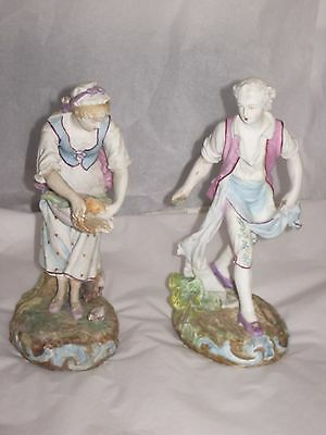 Antique French bisque porcelain man and lady pair figurines As Is