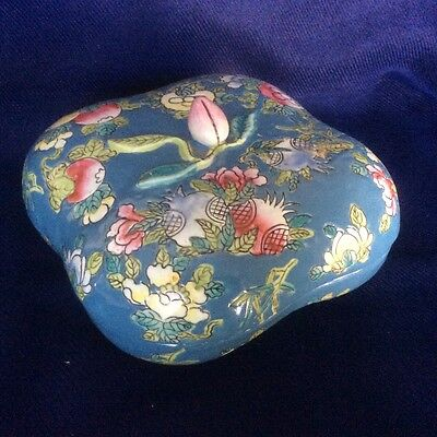 Vintage Chinese Hand Painted Famille Rose Porcelain Trinket Lidded Box