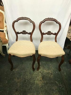 Pair Of Victorian Carved Mahogany Balloon Back Dining Chairs