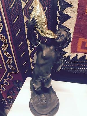 Gorgeous French Bronze Figurine Of A Boy With A Golden Horn