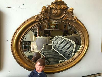 Gorgeous Oval Antique Carved Gilt Framed Beveled Wall Mirror  88 X 74 Cm
