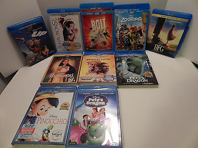 Disney Blu Ray Lot  Of 10 Movies 9 With DVD 7 With Digital . Two Are Unopened
