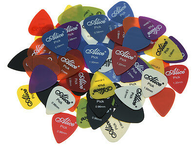 100x Alice Guitar Picks Smooth Nylon Plectrum Plectrums Assorted w/ 6 Thickness