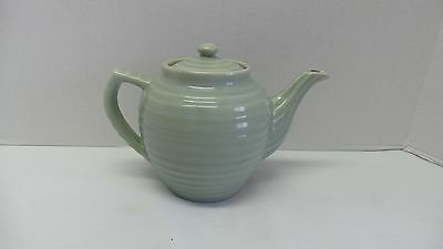 RARE Vintage BAUER USA Art Pottery Pale Gray Green Ring Ware Teapot