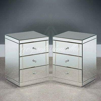 2X Venetian Mirrored Glass Chest of 3 Drawers Bedside Table Cabinet Nightstand