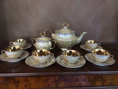 mother of pearl antique Rare Gold CUPS,SAUCERS,TEAPOT 14 Pc WALBRZYCH In POLAND