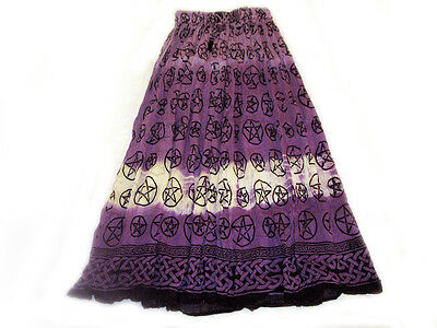 Purple Pentagram Skirt Semi-Sheer Cotton Crinkle Tie-Dye Wicca Pagan Goddess
