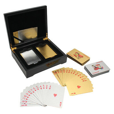 Set Of 24k Gold & Silver Foil Playing Cards 2 Deck Poker Wooden Box Game Casino