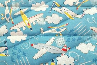 """New, handmade,""""AIRPLANES"""", 35x43in, boys, baby/toddler quilted blanket/comforter"""