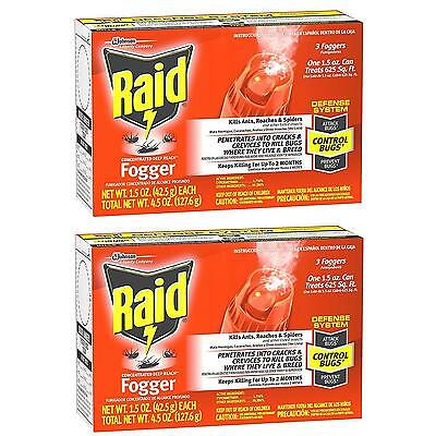NEW Raid 6TD8zo1 Concentrated Deep Reach Fogger 2-Pack Kills Ants Roaches