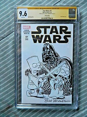 Simpsons Homer Bart Lisa Star Wars Sketched and Signed by Bill Morrison CGC 9.6