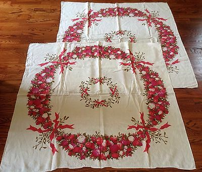 LOT 2 Vintage Christmas Tablecloth Luther Travis Red Pink Ornaments Balls Wreath