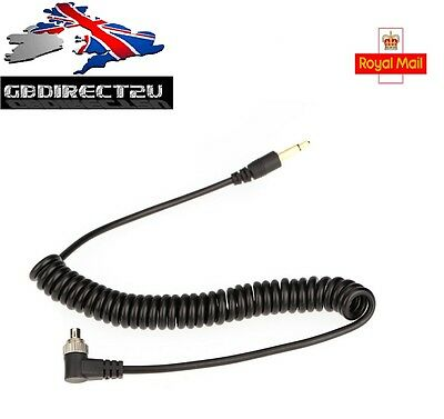 Male to Male Flash PC Sync Cable Cord With Screw Lock For Canon Nikon NEW UK