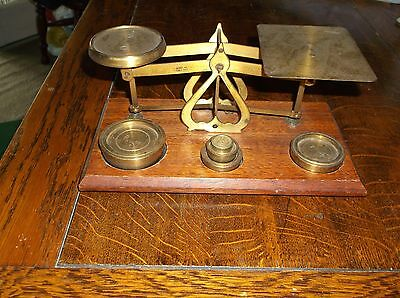 Antique Wooden And Brass Postal Scales And Weights