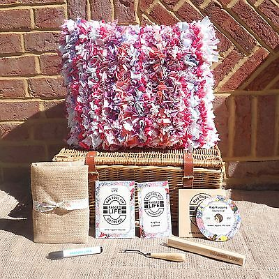Beginners Rag Rug Cushion Kit w/ Instructional DVD - Ragged Life - 40x40cm Size