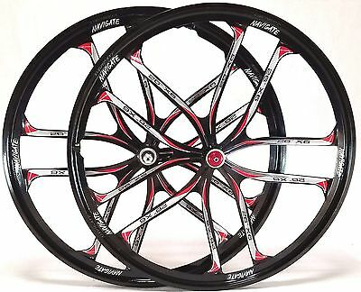 "26"" MTB Bike 10-Spoke Mag Magnesium Alloy Wheels Set Rim Wheelset Disc"