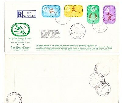 Fiji South Pacific Games 1963 Running Man Green Cachet First Day Cover Register