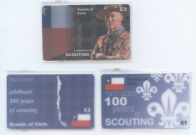 Set of 3 Centenary of Scouting Phonecards Chile