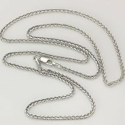Authentic 18K White Gold Necklace 2mm Wheat Link chain 40cm L
