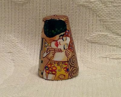 Russian Сollectible Handpainted Decorative Wood Thimble Kiss by G. Klimt