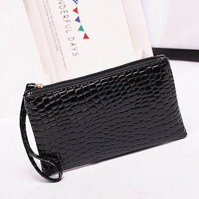 New Women Lady Leather Clutch Wallet PU Card Holder Handbag Coin Purse Black US