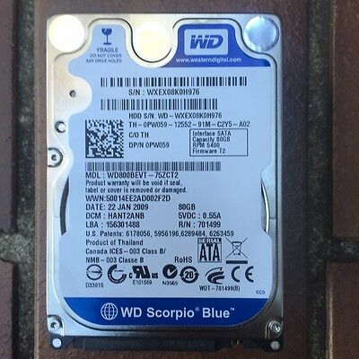 HARD DRIVE 2.5in 80gb WD800BEVT / HITACHI / VARIOUS (TESTED)